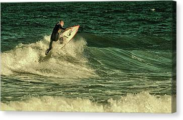 Surfing - Jersey Shore Canvas Print by Angie Tirado