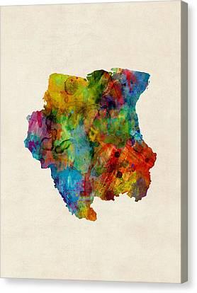 Suriname Watercolor Map Canvas Print by Michael Tompsett