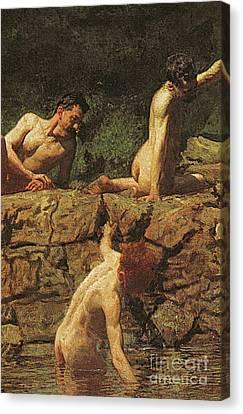 Swimming Hole Canvas Print by Thomas Cowperthwait Eakins