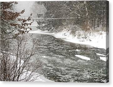 Swinging Bridge In Snow Storm Canvas Print by Thomas R Fletcher
