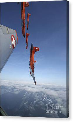 Swiss Air Force Display Team, Pc-7 Canvas Print by Daniel Karlsson