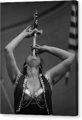 Sword Swallower Carny Performer Canvas Print by Robert Ullmann
