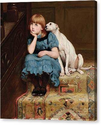 Chin On Hand Canvas Print - Sympathy by Briton Riviere