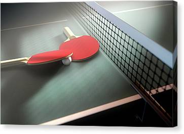 Racquet Canvas Print - Table Tennis Table And Paddles by Allan Swart