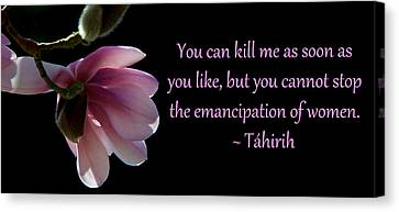 Canvas Print featuring the photograph Tahirih The Pure One by Baha'i Writings As Art