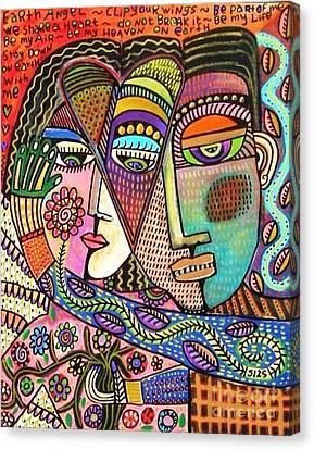 Talavera Garden Angel Lovers Canvas Print by Sandra Silberzweig