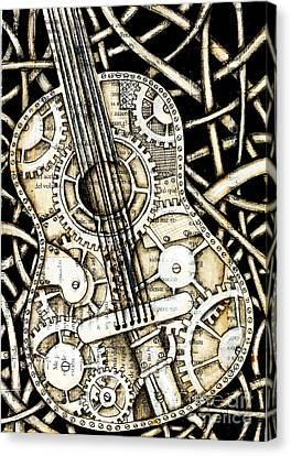 Tangle Guitar Canvas Print by Delein Padilla