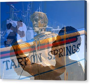 Canvas Print featuring the photograph Tarpon Springs Florida Mash Up by David Lee Thompson