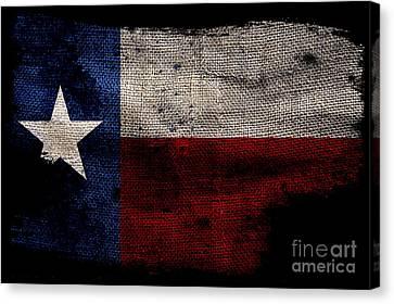 Tattered Lone Star Flag On Black Canvas Print by Jon Neidert