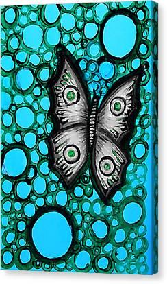 Teal Butterfly Canvas Print by Brenda Higginson