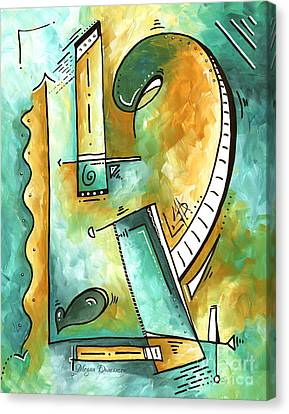 Teal Dreams Fun Funky Original Pop Art Style Abstract Painting By Megan Duncanson Canvas Print
