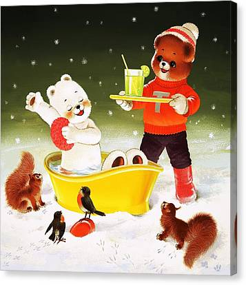Teddy Bear Christmas Card Canvas Print by William Francis Phillipps