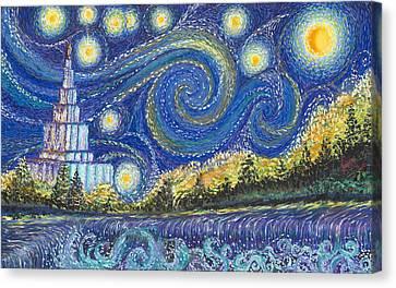 Temple Night Canvas Print by Rachel Roberts