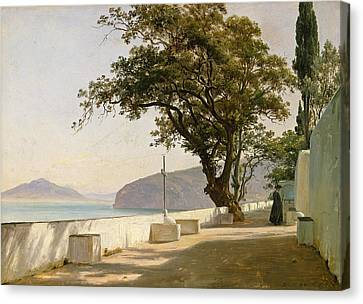 Fearnley Canvas Print - Terrace With Oak, Sorrento by Thomas Fearnley
