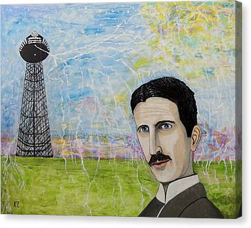 Canvas Print featuring the painting Tesla's Tower. by Ken Zabel