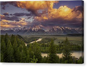 Teton Cloudburst Canvas Print by Andrew Soundarajan