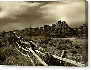 Tetons And Fence Canvas Print