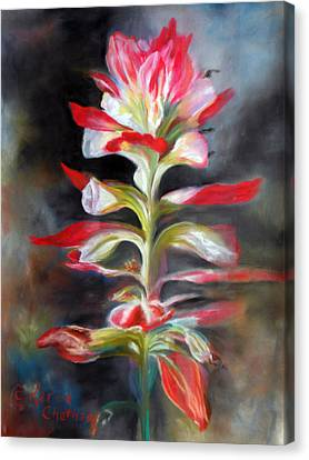 Canvas Print featuring the pastel Texas Indian Paintbrush by Karen Kennedy Chatham