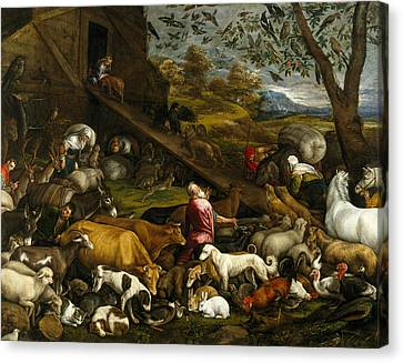 The Animals Entering Noah's Ark Canvas Print by Jacopo Bassano