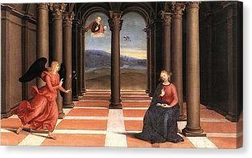 The Annunciation Canvas Print by Raffaello Sanzio