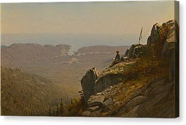 The Artist Sketching At Mount Desert Maine Canvas Print