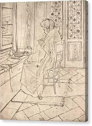 Boccioni Canvas Print - The Artist's Mother Crocheting by Umberto Boccioni