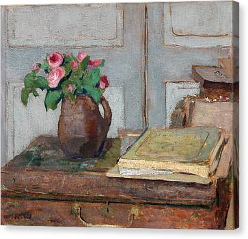The Artist's Paint Box And Moss Roses Canvas Print