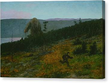 The Ash Lad And The Troll Canvas Print by Theodor Kittelsen