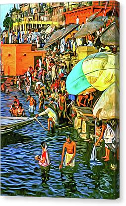 The Bathing Ghats - Paint Canvas Print