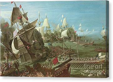 The Battle Of Lepanto Canvas Print by Andries van Eertvelt