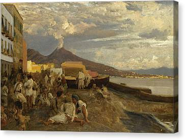 The Bay Of Naples, Vesuvius Beyond Canvas Print by Oswald Achenbach