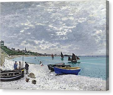 Ocean Canvas Print - The Beach At Sainte Adresse by Claude Monet