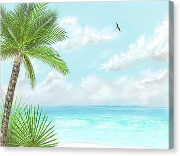 Canvas Print featuring the digital art The Beach by Darren Cannell