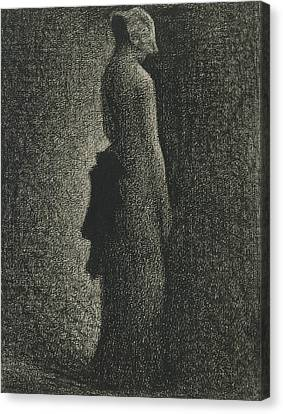 Seurat Canvas Print - The Black Bow by Georges-Pierre Seurat