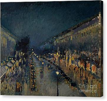 The Boulevards Canvas Print - The Boulevard Montmartre At Night by Camille Pissarro