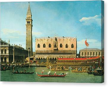 The Bucintoro At The Molo On Ascension Day Canvas Print by Canaletto