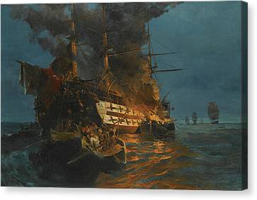 Greek School Of Art Canvas Print - The Burning Of A Turkish Frigate by Konstantinos Volanakis