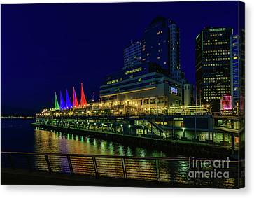 Vancouver At Night Canvas Print - The Canada Place At Night by Viktor Birkus
