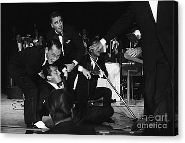 The Cast Of Ocean's 11 And Members Of The Rat Pack. Canvas Print by The Titanic Project