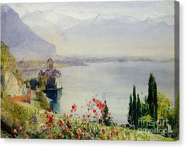 Mountainous Canvas Print - The Castle At Chillon by John William Inchbold