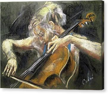 The Cellist Canvas Print by Debora Cardaci