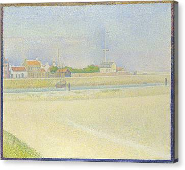 Seurat Canvas Print - The Channel Of Gravelines Grand Fort Philippe by PixBreak Art