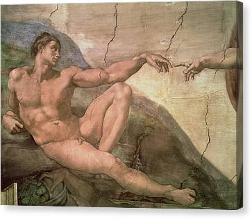 Creationism Canvas Print - The Creation Of Adam by Michelangelo Buonarroti