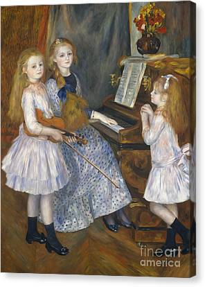 The Daughters Of Catulle Mendes At The Piano, 1888 Canvas Print by Pierre Auguste Renoir