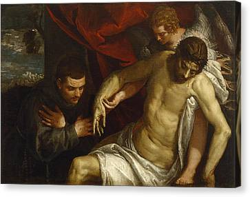 The Dead Christ Supported By An Angel And Adored By A Franciscan Canvas Print by Paolo Veronese