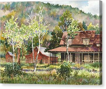 Canvas Print featuring the photograph The Delonde Homestead At Caribou Ranch by Anne Gifford