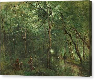 The Eel Gatherers Canvas Print by Jean-Baptiste-Camille Corot