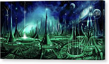 Canvas Print featuring the painting The Enneanoveum by James Christopher Hill