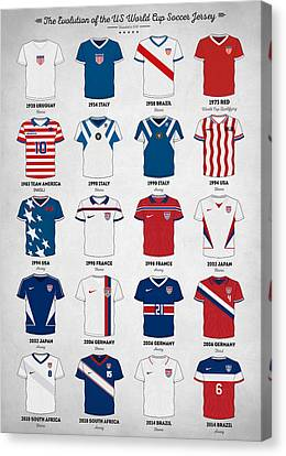 South Africa Canvas Print - The Evolution Of The Us World Cup Soccer Jersey by Taylan Apukovska