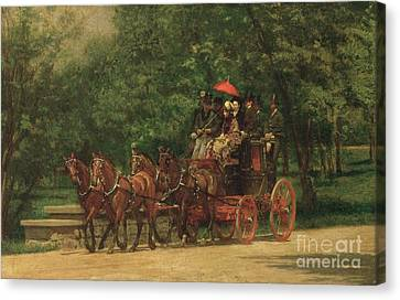 The Fairman Rogers Coach And Four Canvas Print by Thomas Cowperthwait Eakins